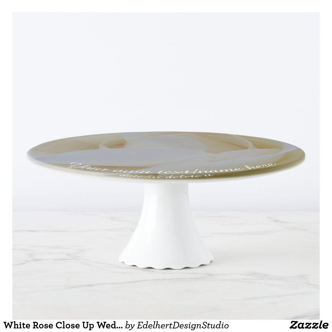 White Rose Close Up Wedding Cake Stand
