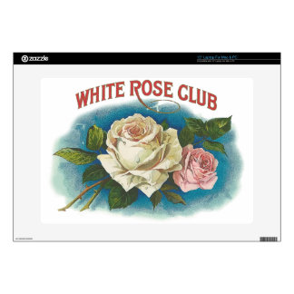 """White Rose Club Decal For 15"""" Laptop"""