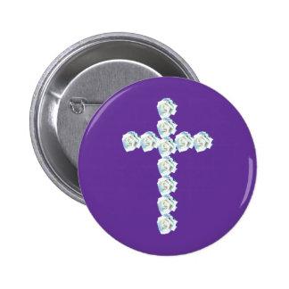 White Rose Cross Button
