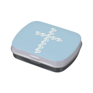 White Rose Cross Jelly Belly Candy Tin