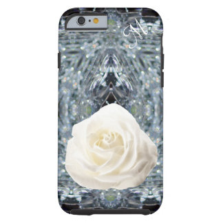 White rose crystal Initial Tough iPhone 6 Case
