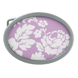White rose customizable background oval belt buckle