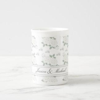 White Rose Customizable Bone China Mug Cup