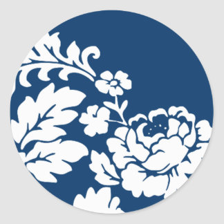 White Rose Damask Classic Round Sticker