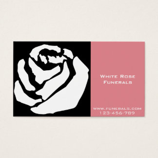 White Rose design funeral services business Business Card