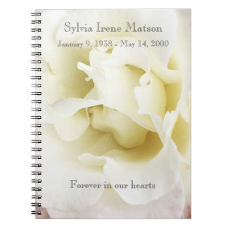 White rose edged in pale pink notebook
