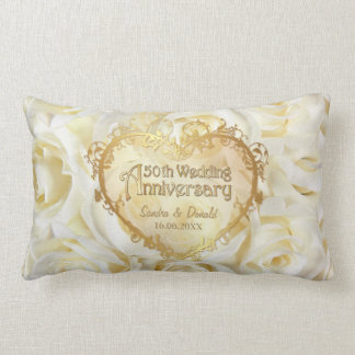 White Rose Elegance - 50th Wedding Anniversary Lumbar Pillow