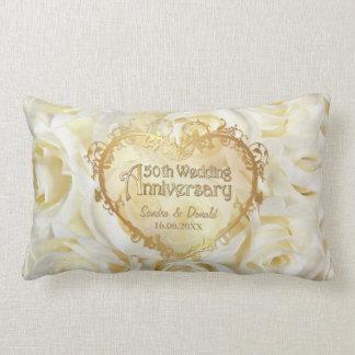 White Rose Elegance - 50th Wedding Anniversary Pillow