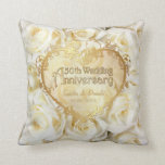 "White Rose Elegance - 50th Wedding Anniversary Throw Pillow<br><div class=""desc"">A  timeless symbol of love and passion. Customize the name and date text. Back of pillow has matching white rose pattern with text art saying Happily Ever After..</div>"