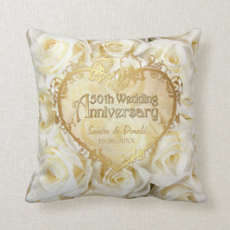 White Rose Elegance - 50th Wedding Anniversary Throw Pillow