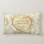 White Rose Elegance - 50th Wedding Anniversary Throw Pillow