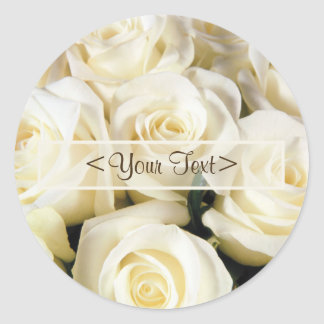 White Rose Elegance Classic Round Sticker