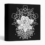 White Rose Fancy Mandalas Bohemian 3 Ring Binder