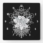White Rose Fancy Mandalas Bohemian Square Wall Clock