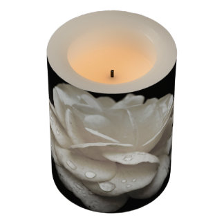 White Rose Flameless Candle