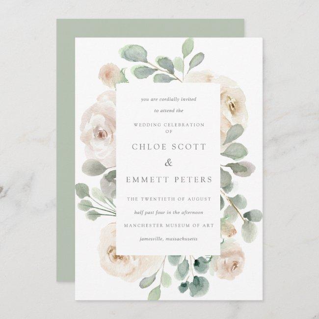 White Rose Floral Botanical Wedding Invitation