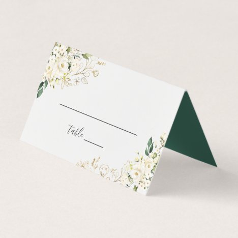 White Rose Floral Gold Leaves Wedding Table Place Card