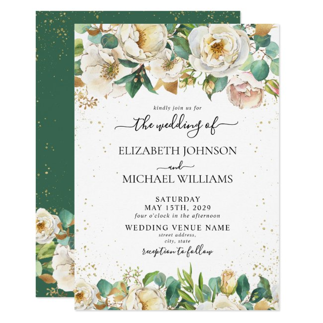 White Rose Floral Greenery Gold Leaves Wedding Invitation