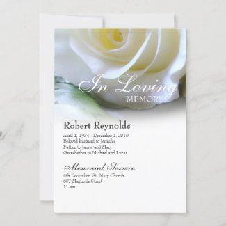 White Rose Floral Memorial Funeral Service Announcement