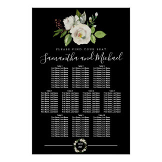 White Rose Floral on Black 10-Table Seating Chart