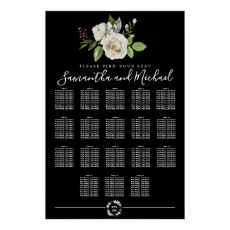 White Rose Floral on Black 18-Table Seating Chart