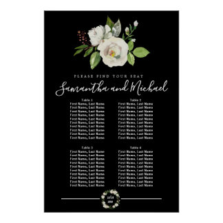 White Rose Floral on Black 4-Table Seating Chart