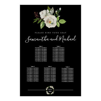 White Rose Floral on Black 5-Table Seating Chart