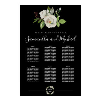 White Rose Floral on Black 6-Table Seating Chart