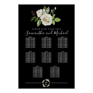 White Rose Floral on Black 8-Table Seating Chart