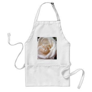 White Rose Floral Print Adult Apron