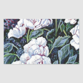 WHITE ROSE FLORAL RECTANGLE STICKERS