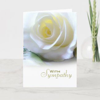 White Rose Floral Sympathy Condolences Card