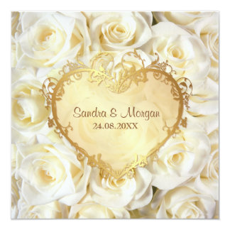 White Rose Fl Wedding Invitation