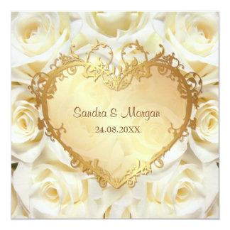 White Rose Floral Wedding Invitation