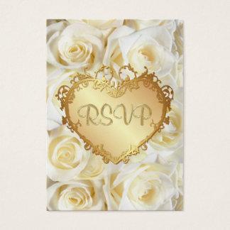 White Rose Floral Wedding RSVP Business Card