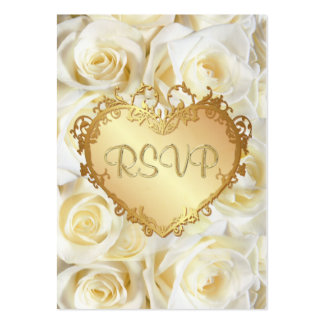 White Rose Floral Wedding RSVP Large Business Card