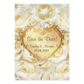 White Rose Floral Wedding Save the Date Large Business Card