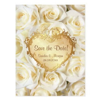 White Rose Floral Wedding Save the Date Postcard
