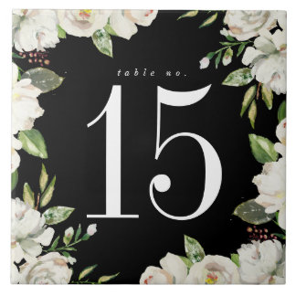 White Rose Floral Wedding Table Number Ceramic Tile