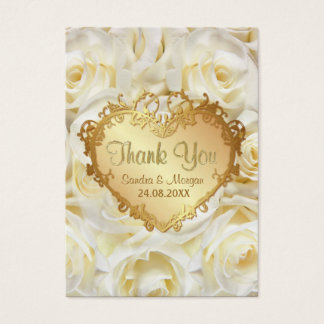 White Rose Floral Wedding Thank You Business Card