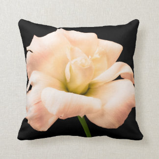 White Rose Flower Black Background Floral Throw Pillow
