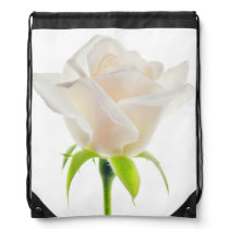 White Rose Flower Wedding Roses Floral Drawstring Bag