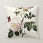 white  rose  flowers, Pierre Joseph Redouté Pillow