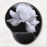 "White Rose Gel Mouse Pad<br><div class=""desc"">Beautiful white rose on black background. Great and unique floral gifts.</div>"