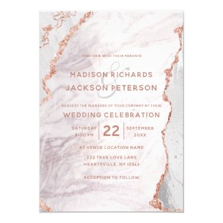 White & Rose Gold Agate Marble Foil Gilded Wedding Invitation