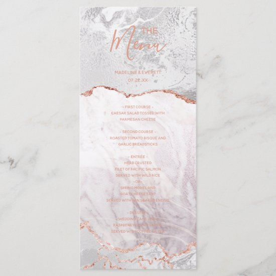 White & Rose Gold Agate Marble Foil Wedding Menu