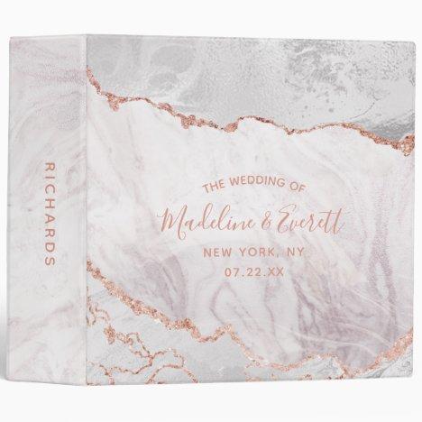 White & Rose Gold Agate Marble Wedding Photo Album 3 Ring Binder
