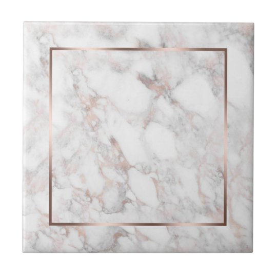White Rose Gold Faux Marble Ceramic Tile