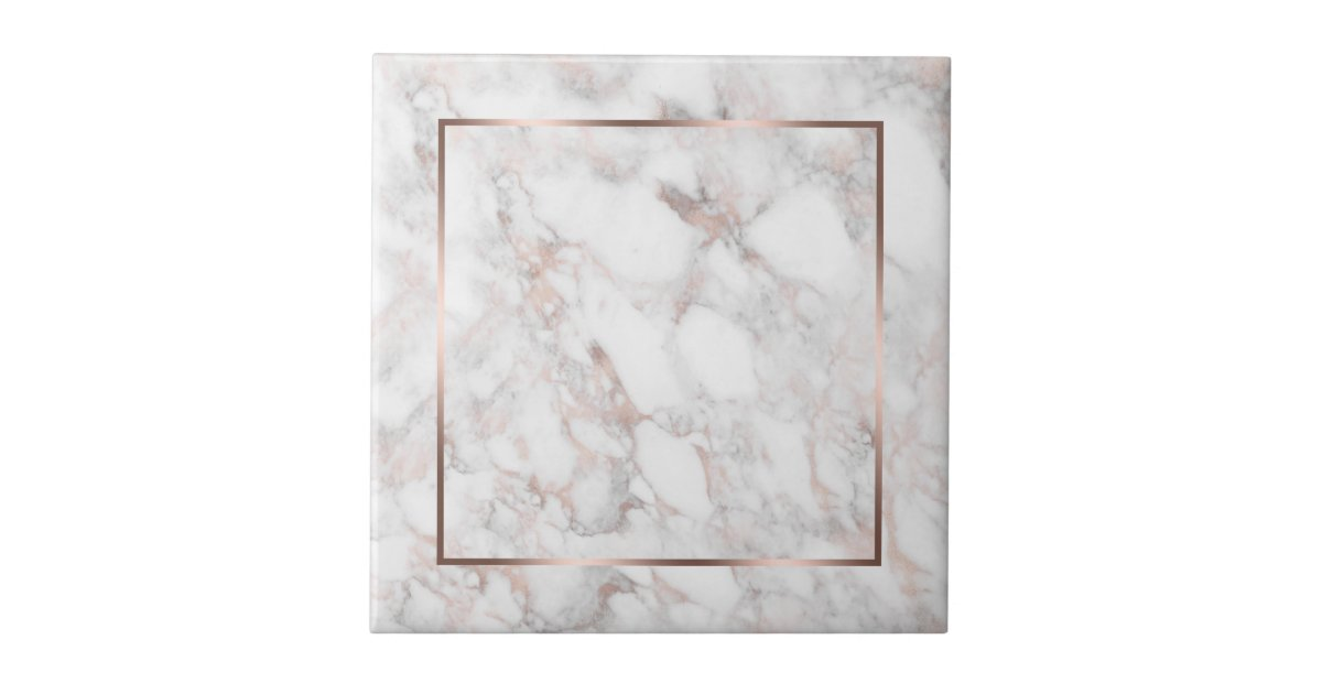 White Rose Gold Faux Marble Ceramic Tile Zazzle