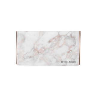 White & Rose-Gold Faux Marble Print Checkbook Cover
